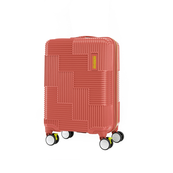 AT American Tourister 20-inch color geometric Velton jump brake wheel anti-theft zipper board chassis (brick red)