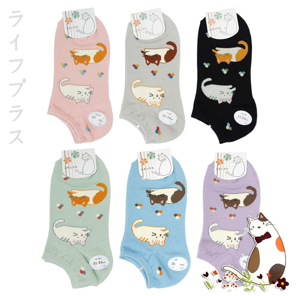 Cat woven flowers ship socks double into -LM945-2