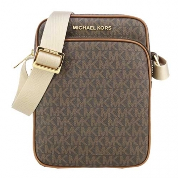 (MICHAEL KORS)MICHAEL KORS JET SET Full Version Scratch-resistant Logo Leather Straight Crossbody Bag-Coffee
