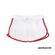 [NO.1 SPORT] กีฬาเกาหลีกางเกงขาสั้นกีฬาระบายอากาศเย็นสบาย ๆ กางเกงขาสั้นกางเกงวิ่งจ๊อกกิ้งออกกำลังกายกางเกงกางเกงขาสั้นกางเกงบาสเก็ตจริง (สีแดงขอบสีขาว)