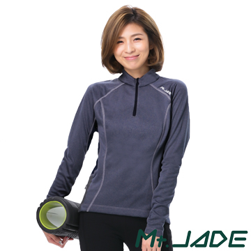 Mt. JADE female models i-Cosey Varuna suction half cardigans - twist gray / blue