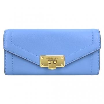 (MICHAEL KORS)MICHAEL KORS Buttoned Plain Leather Long Clip - French Blue