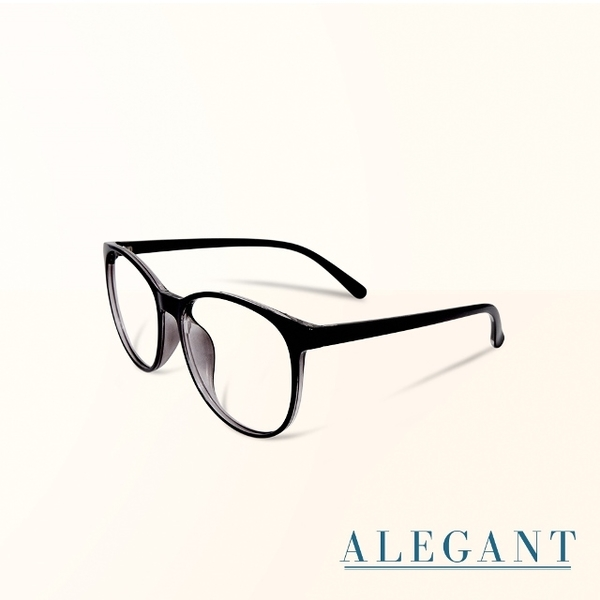 (ALEGANT)[ALEGANT] Japanese minimalist bright inky black TR90 lightweight large frame with small face perspective side mirror design UV400 filter blue