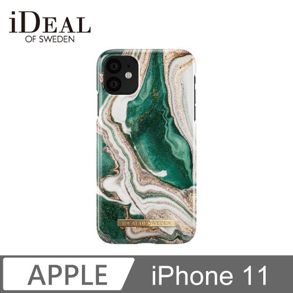 IOS iPhone 11 Sweden Nordic fashion popular mobile phone shell - gold emerald marble