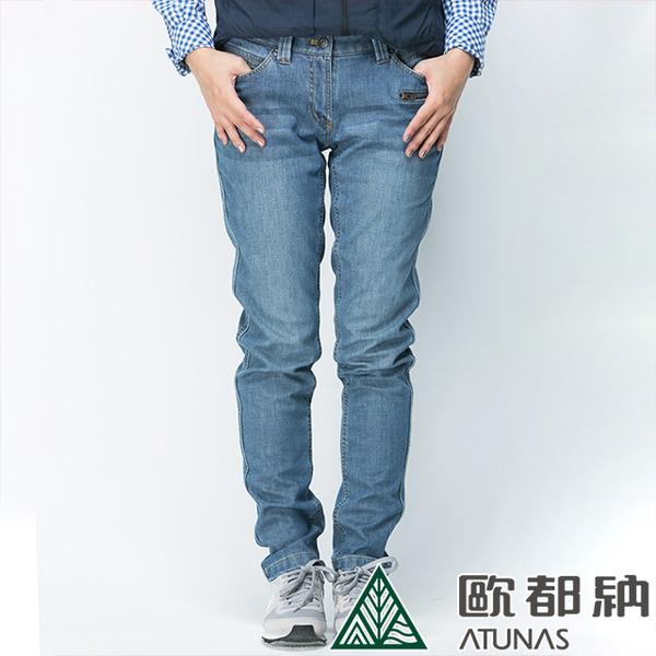 (ATUNAS)[ATUNAS Europe] women's Soft shell windproof brush jeans (A-PA1525W blue / wind / warm / wear / elastic)