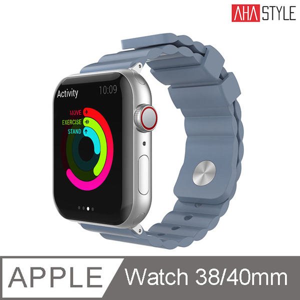 (AHAStyle)[AHAStyle] Sport Watch Silicone Strap Simple for Apple Watch (38 / 40mm) Gray Blue