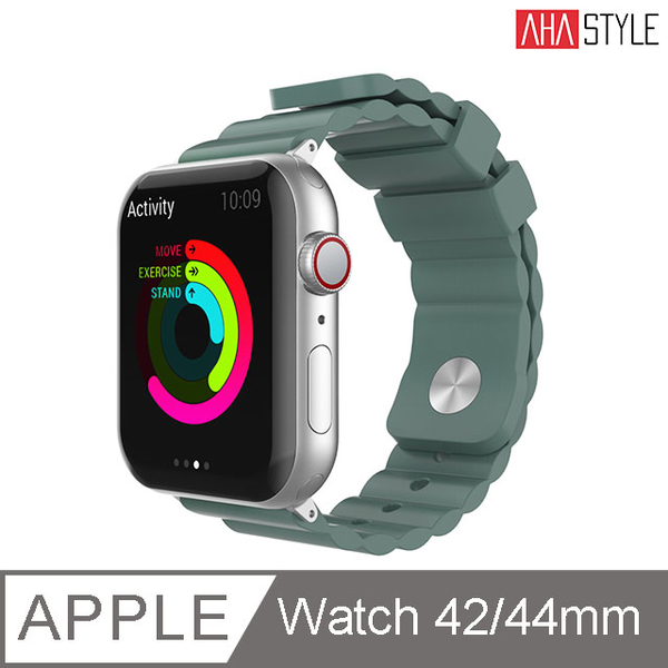 (AHAStyle)[AHAStyle] Sport Watch Silicone Strap Simple for Apple Watch (42 / 44mm) Pine Green