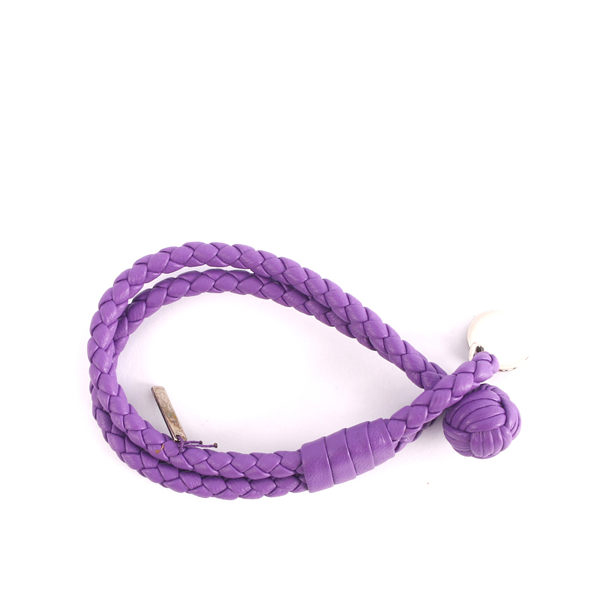BOTTEGA VENETA lambskin สร้อยข้อมือคู่วงกลมถัก S (Lavender) 113,546 V001D 5220