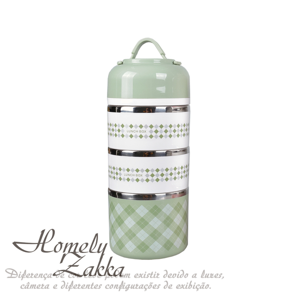 (homelyzakka)[Homely Zakka] Korean creative colorful multi-layer top stainless steel insulated lunch box / bento box 1430ml _ Nordic Green