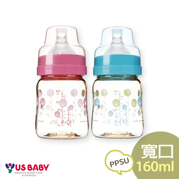 (USBABY)Elegant real mother PPSU bottle wide mouth 160ml-blue / powder