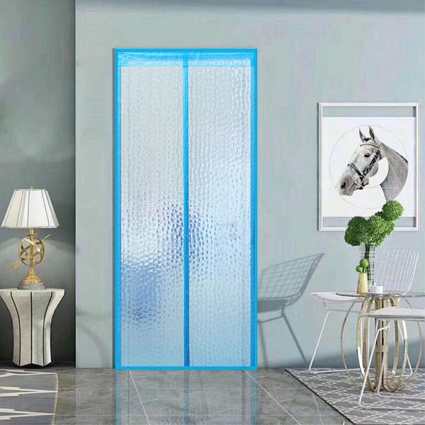 EVA Anti-Air-Conditioning Anti-mosquito Velcro Door Curtain-Water Cube Blue