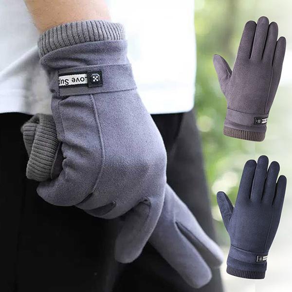 (幸福揚邑)[Happy Yangyi] Suede plus velvet snow warm windproof car touch gloves-men