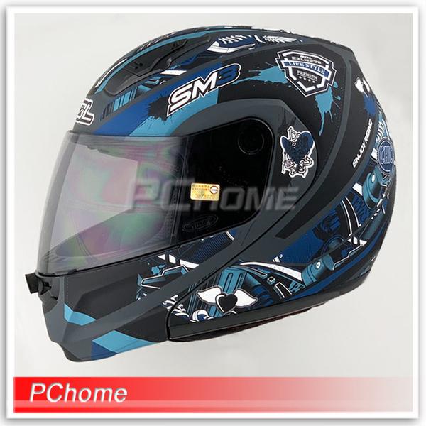 (SOL)[SOL SM-3 Evil Angel Coca-Cola Full-face Helmet Matte Gray / Blue] Liner Fully Detachable