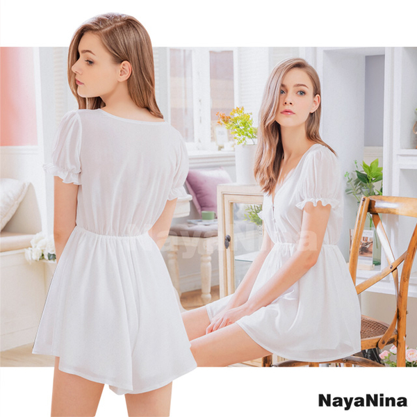 (naya nina)[Naya Nina] Pure White Princess Lotus Leaf V-neck Home Dress Pajamas