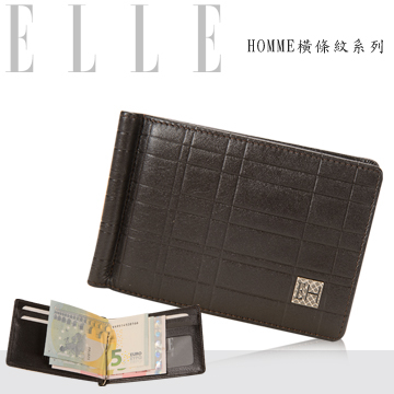 (ELLE HOMME)ELLE HOMME short French boutique business card wallet (coffee) carefully selected soft Italian leather, top metal layer sandwiched bill /