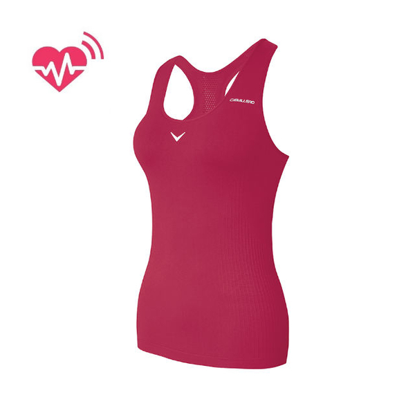 [CABALLERO] female models sense the heartbeat measuring Long pink sports vest