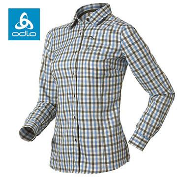 [Female] ODLO silver ion elastic long-sleeved plaid shirt 524191 (66720 grass green grid)
