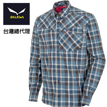 [SALEWA] long-sleeved shirt male quick-drying antimicrobial + 25558 (7648 Plaid blue line)
