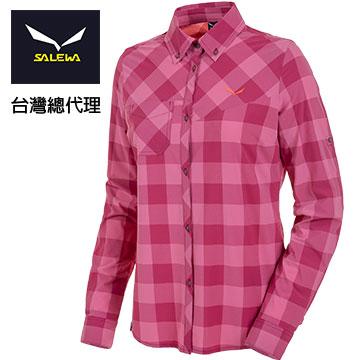 SALEWA [+] female long-sleeved shirt quick-drying antimicrobial 25461 (6527 Plaid purple lines)
