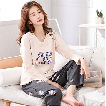 (Secret Garden)[Secret Garden] Korean version of the pug cotton home parent's sleeve pants set SG5210