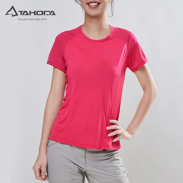 TAKODA lightweight wicking perspiration antibacterial functional clothing female models bright peach pink