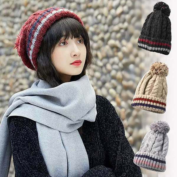 [Happy] Yang Yi striped fur ball warm double knit wool cap ear small Yan