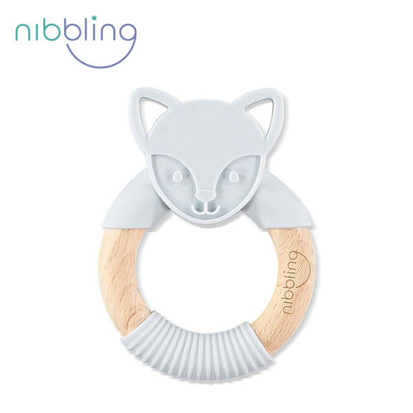 [Nibbling] can bite silicone animal shaped beech forest friends holding a ring - gray fox