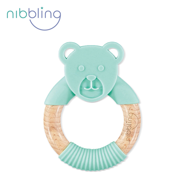Nibbling] [silicone can bite animal shaped beech forest friends holding a ring - Bear Mint