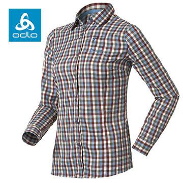 [Female] ODLO silver ion elastic long-sleeved plaid shirt 524 191 (66 730 light blue grid)