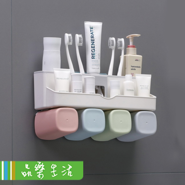(LaVie)[品?. LaVie] good things ☆ free drilling without traces automatically squeezed toothpaste holder toothbrush cup rack