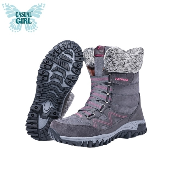 "Casual Girl ""HIKING"" walking warm snow boots (gray)"