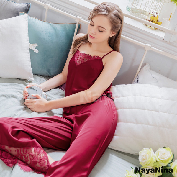 (naya nina)[Naya Nina] Burgundy lace stitching thin shoulders trousers two-piece suit home pajamas