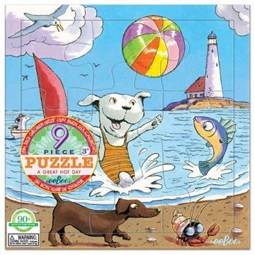 eeBoo 9 Piece Jigsaw - Beach style (A Great Hot Day 9 Piece Puzzle)