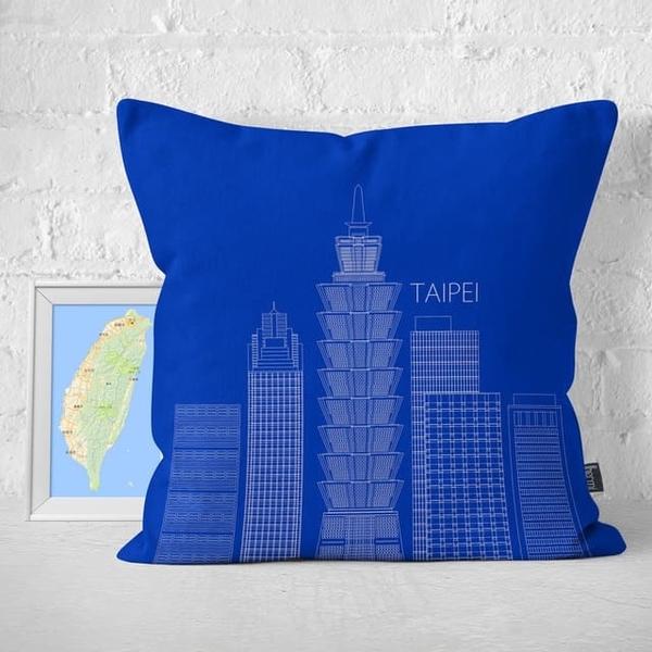 (IHERMI)IHERMI Taipei Building Line Pillowcase 45cm Made in Taiwan