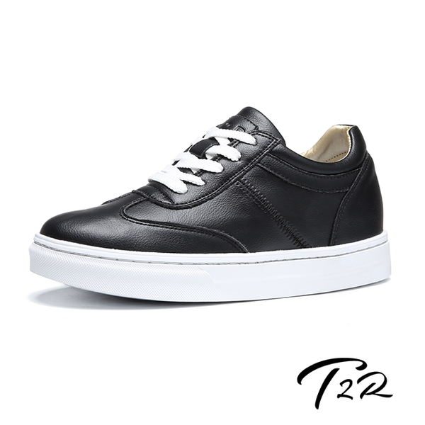 (T2R)[T2R] Korean Air Transport-Full Leather-Invisible Height Increase 7cm Comfortable Lace Up Casual Shoes-Black (5985-1928)