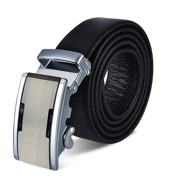ZK2005BK simple silver automatic buckle top layer leather belt belt black (waist circumference is suitable for 22-42吋)