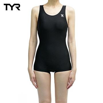(TYR)Female black coveralls corners of the United States TYR training Swimwear Solid Boyleg