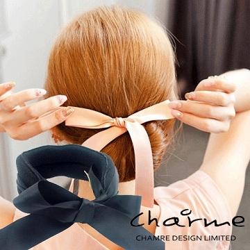 (charme)Charme Korean popular sweet dish meatball head hair bow ribbon black
