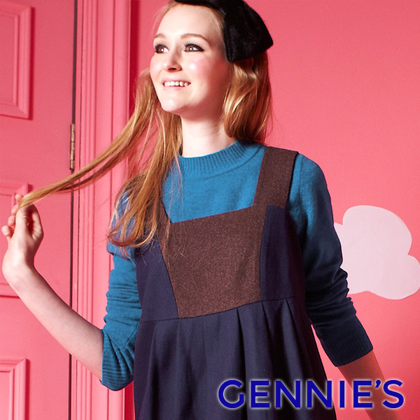 Gennies Qini wild elastic knit tops (red / blue GSY07)