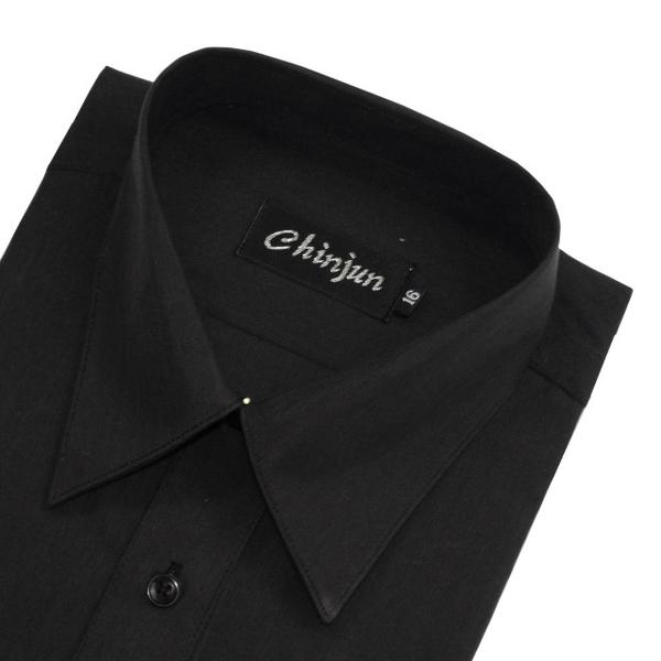 (chinjun)CHINJUN Anti-Wrinkle Shirt Long Sleeve, Plain Black