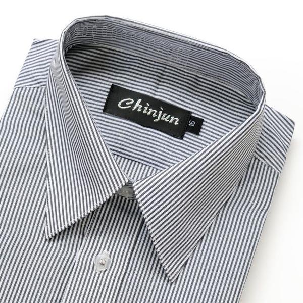 (chinjun)CHINJUN anti-wrinkle shirt with long sleeves and black and white stripes