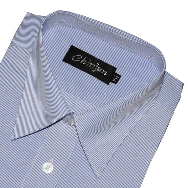 (chinjun)CHINJUN Anti-Wrinkle Shirt Long Sleeve, Blue Pinstripe