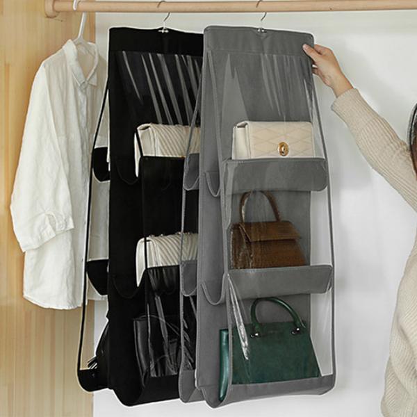(樂居家)Le Jujia Japanese aesthetics PVC thick hanging multi-layer bag storage bag bag clothing dust storage bag bag hanging bag