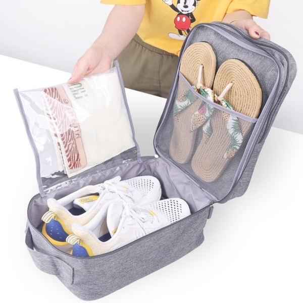 (WEEKEIGHT)《WEEKEIGHT》 Luxury wear-resistant and water-repellent wet and dry separation portable 3 pairs of shoes storage shoe bag / storage bag