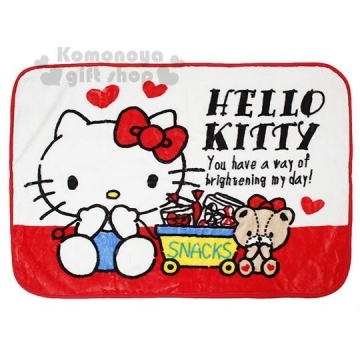 """[Rounded small hall] Hello Kitty blanket shawl 70x100cm """"red. Bear."""" Thin blanket. Single blanket"""
