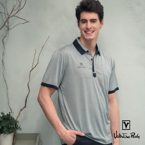 (Valentino Rudy)Valentino Rudy - Lun Moisture Breathable Cool Polo Shirt - Pigeon Grey Deep Blue Collar