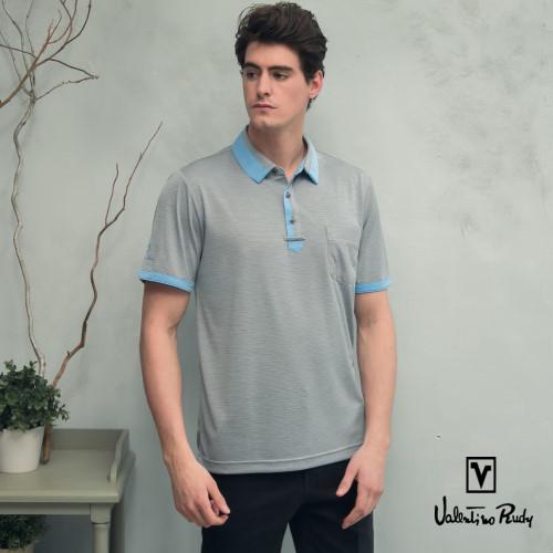 (Valentino Rudy)Valentino Rudy Van Loren. Ludi - moisture absorbing breathable cool function Polo shirt - pigeon gray light blue collar