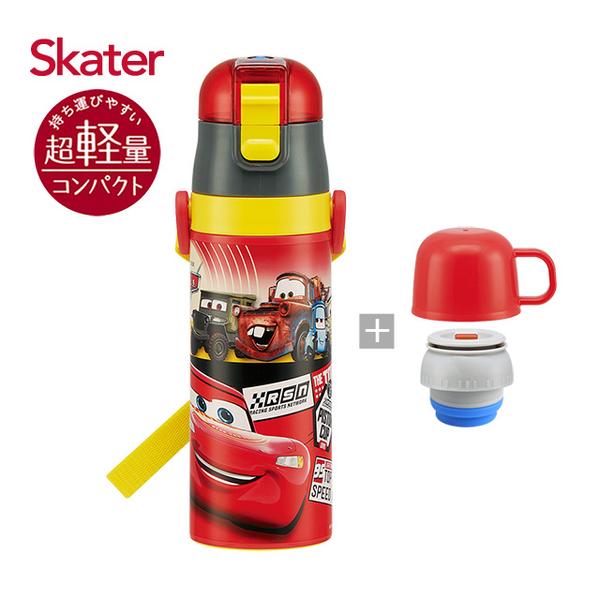 Skater stainless steel holding bottle (2WAY) Lightning McQueen - Red