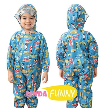 (hugmii)Full picture style one-piece children's raincoat _ car