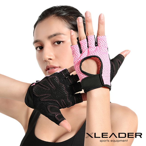 (leader)Leader X professional fitness wear-resistant non-slip sports gloves cycling half finger gloves pink